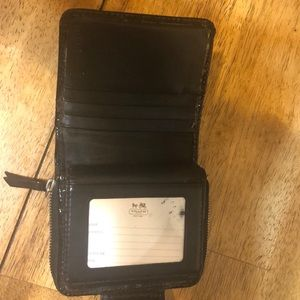 Coach Black Patten Leather Wallet
